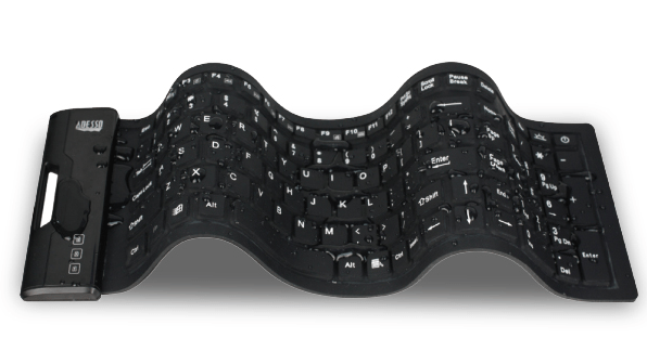 Adesso Waterproof Flex Keyboard SlimTouch 222 Antimicrobial Waterproof Flex Keyboard: Great for Camping or Netflix Binging