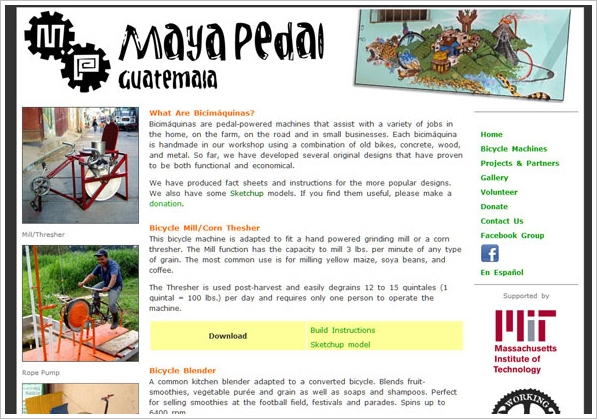 Maya Pedal – awesome DIY pedal powered machines for everyday use