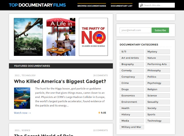Top Documentary Films – free documentaries for your viewing pleasure