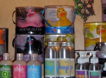 Along with your I Rub my Duckie you can pick up organic bath salts and massage oils from Portland's own Herb Shoppe