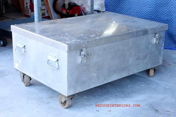 Metal trunk with casters