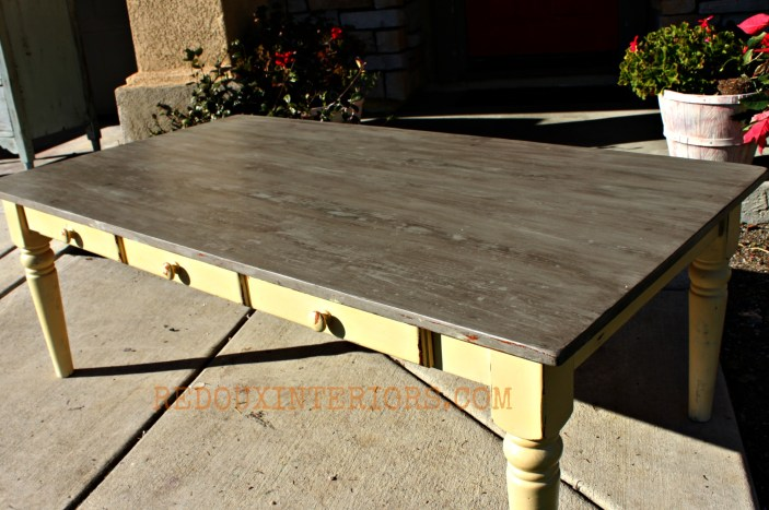 Weathered wood coffee table redouxinteriors