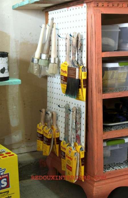 Side Peg Board for brushes