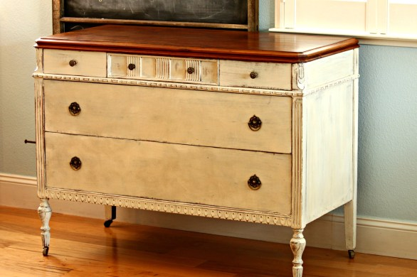 Side board in CeCe Caldwells Vintage White Redoux Interiors
