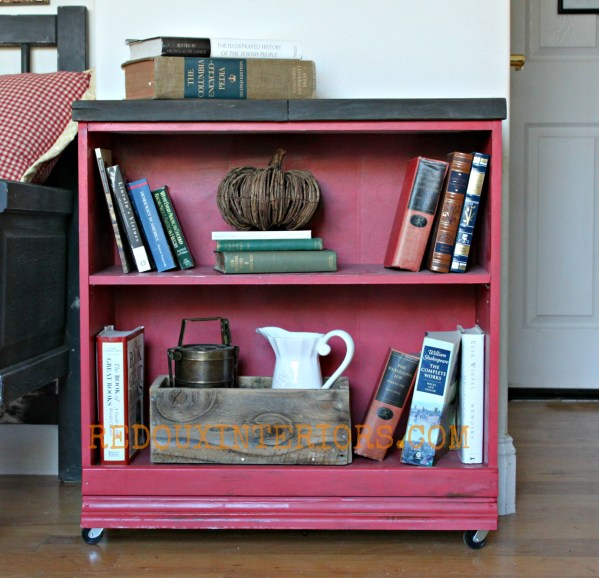 Red Bookshelf makeover Redouxinteriors