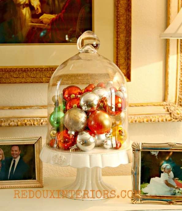 Christmas Ornament Filled Cloche Redouxinteriors