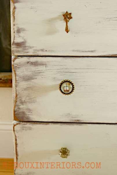 Nantucket Spray Secretary close up of drawer with hardware redouxinteriors