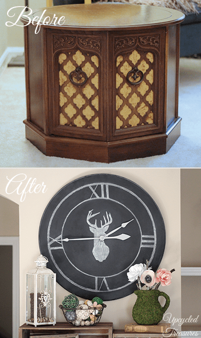 table-upcycled-into-chalkboard-clock-before-and-after-upcycledtreasures
