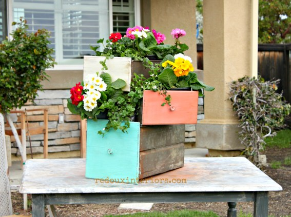 Metal Drawer Planters wide redouxinteriors