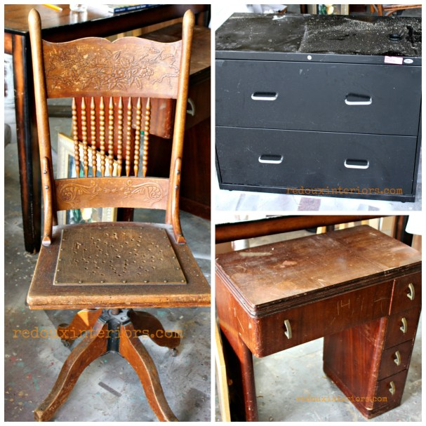 dumpster diving collage chair, filing cabinet and sewing cabinet redouxinteriors
