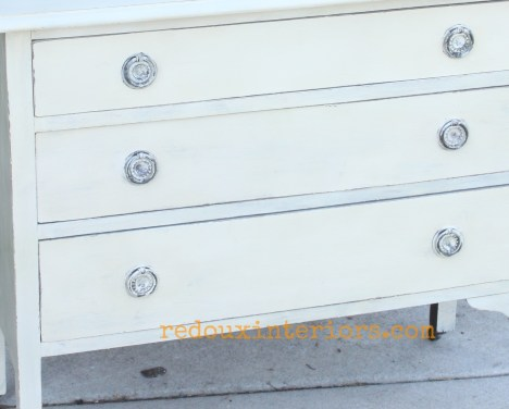 Mixed Leftover paint dresser hardware wet distress redouxinteriors