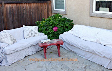 outdoor couches and chippy bench redouxinteriors