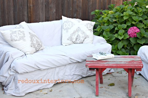 outdoor couches with chippy bench slipcovered in drop cloth redouxinteriors