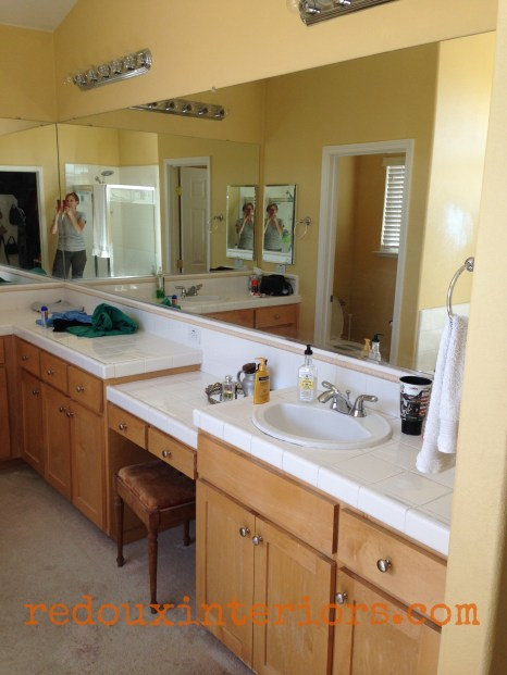 master bathroom makeover with painted subfloors before redouxinteriors