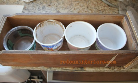 old drawer with containers for flowers redouxinteriors