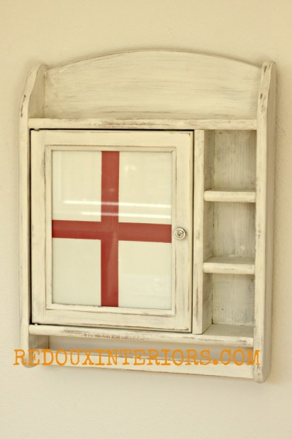 How to paint glass red cross cabinet redouxinteriors