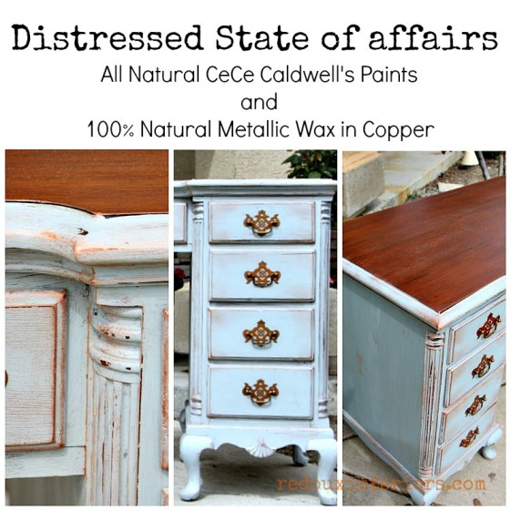 Distressed Desk Redouxinteriors CeCe Caldwell's metallic wax