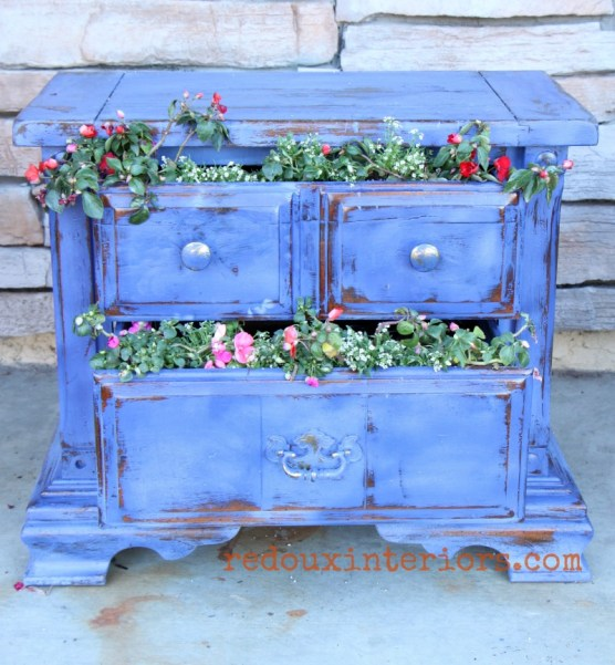 broken nightstand turned planter close up redouxinteriors