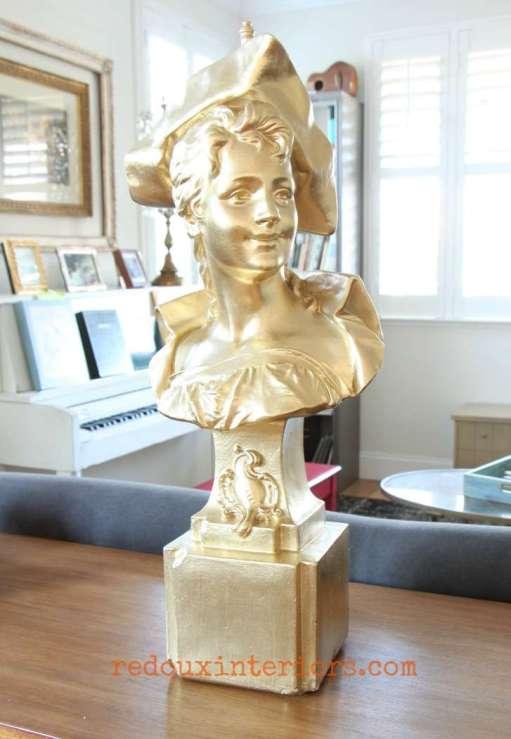 gold female bust former lamp redouxinteriors
