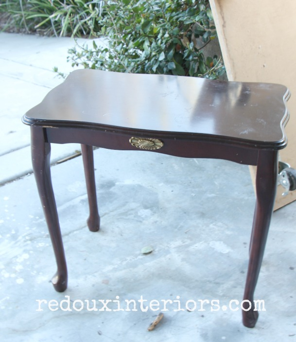 Dumpster Table with French Legs before