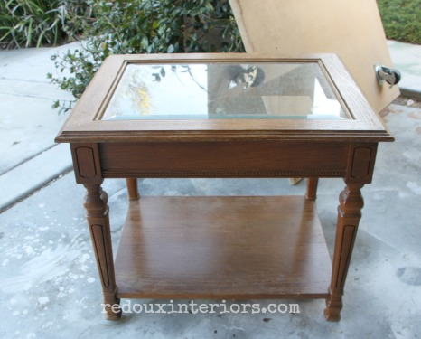 Dumpster table with glass before redouxinteriors
