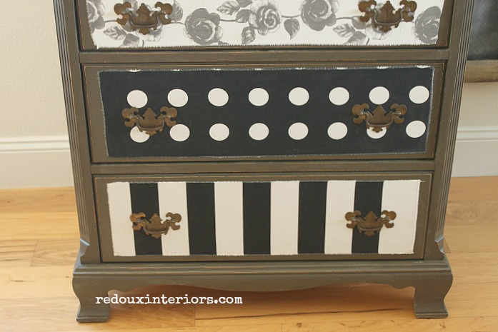 dresser with decoupaged fabric lower drawers redouxinteriors