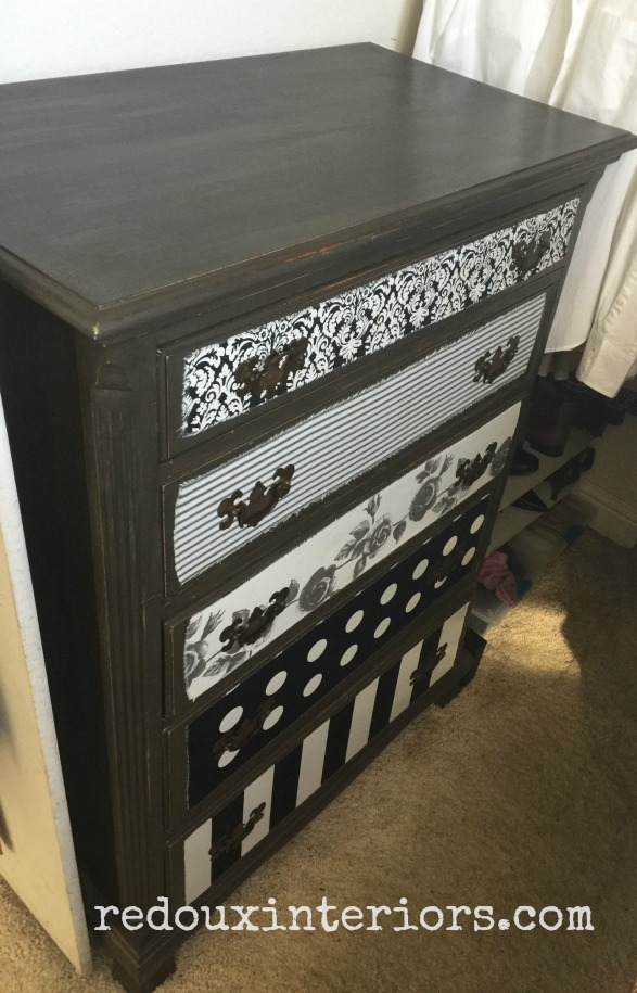 dresser with fabric decoupage in closet redouxinteriors