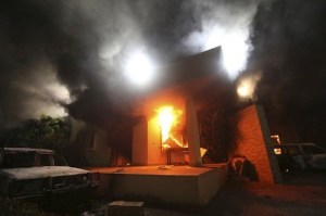 US consulate in Benghazi on fire, 11 September 2012