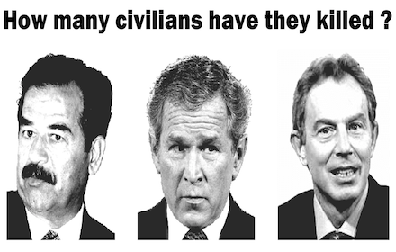 Saddam Hussein, George W. Bush and Tony Blair