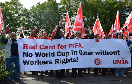 Qatar World Cup workers' rights protest