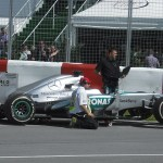 One of Mercedes-Petronas Cars at pit row