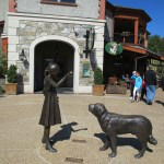 A statue of Cornelia and Cedric the St. Bernard in Antler Village