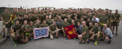 marines with banners
