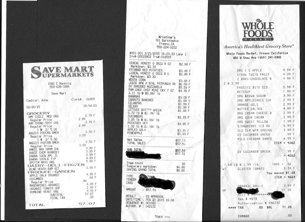 Receipts Kristinas, Whole Foods, Save Mart