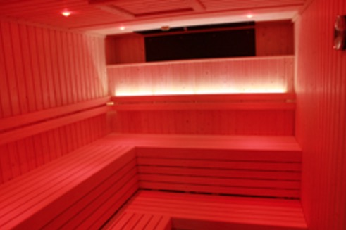 Pine Red Lit Sauna for Wycombe Rye Lido