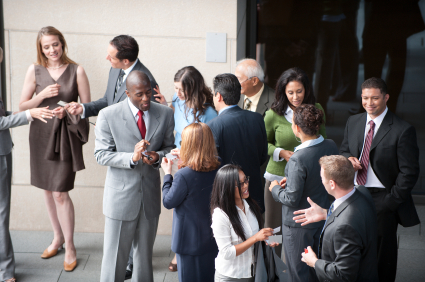 group of business folk / all networking together / to generate cash