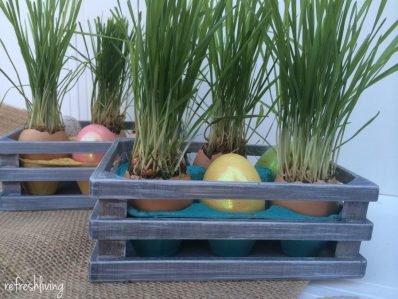 upcycled egg crate easter egg centerpiece