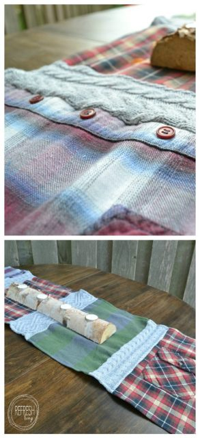cozy table runner from old sweaters and flannel shirts