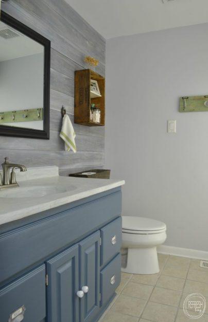 budget bathroom remodel with whitewash plank wall
