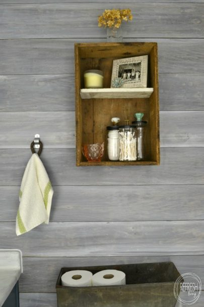 diy rustic white plank wall