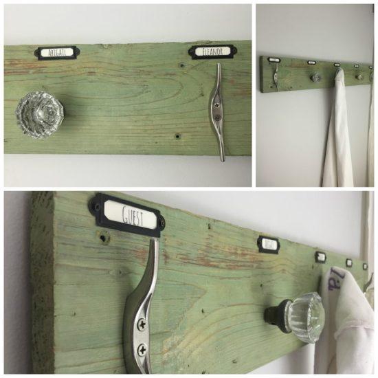 rustic industrial barn wood towel rack