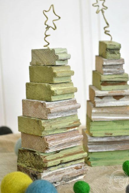 scrap wood christmas trees with beadboard