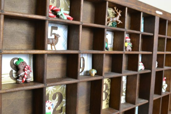 diy advent calendar with vintage printing block tray