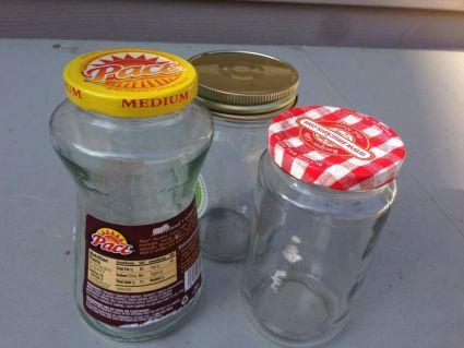 bathroom organization upcycled jars