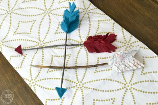 rustic valentines arrows with felt, sticks, and vintage maps