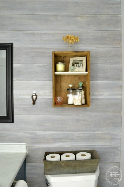 Install a DIY plank wall | how to whitewash wood | whitewashed horizontal plank wall | whitewash ship lap wall