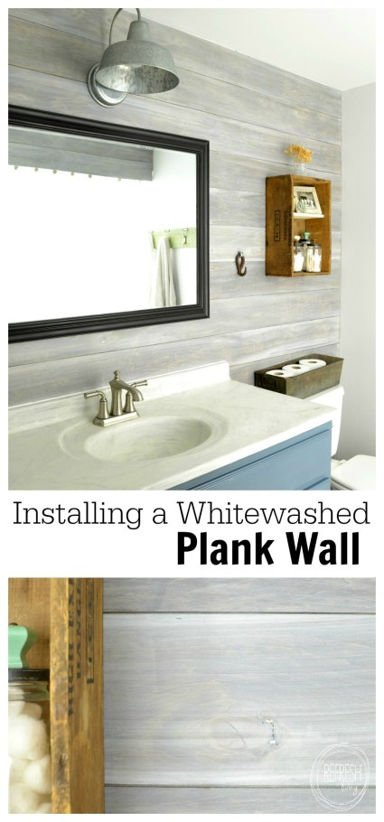 installing a whitewash plank wall