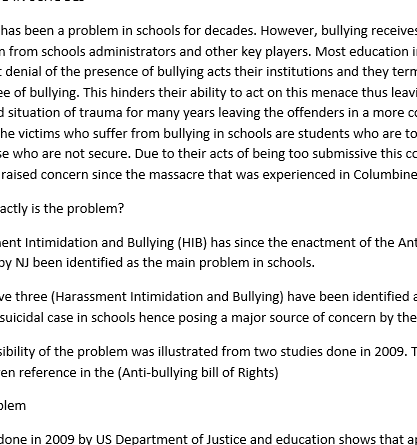 Need help writing thesis statement for bullying