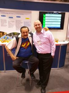 "David Bradley with ""Super"" Phil Zimbardo. Photo by Alex Uzdavines."