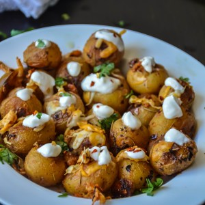 Cheesy Roasted Baby Potatoes with Sour Cream